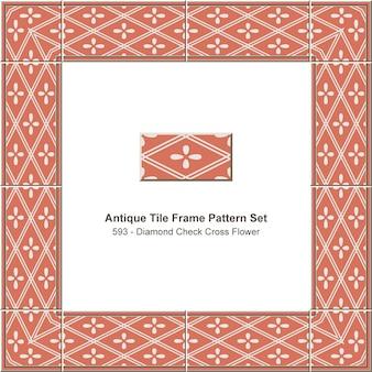 Padrão de quadro de telha antigo conjunto diamante verificar flor de geometria cruzada, decoração de cerâmica.