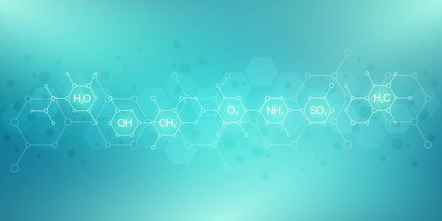 Padrão de química abstrata com fórmulas químicas e estruturas moleculares. modelo de design com conceito e ideia de ciência e inovação tecnológica.
