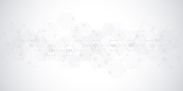 Padrão de química abstrata em fundo cinza suave com fórmulas químicas e estruturas moleculares. modelo de design com conceito e idéia para ciência e inovação tecnológica.