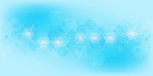 Padrão de química abstrata sobre fundo azul claro com fórmulas químicas e estruturas moleculares. conceito de tecnologia de ciência e inovação.