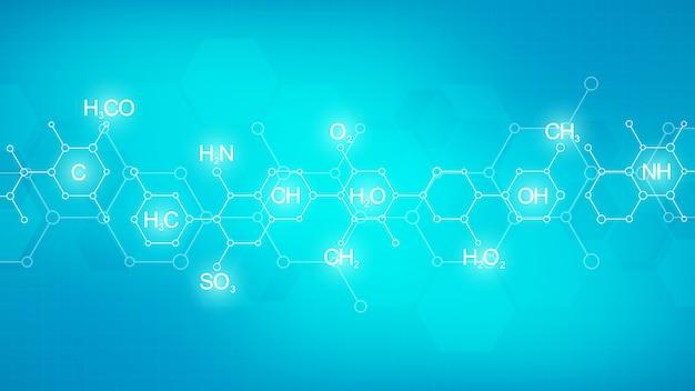Padrão de química abstrata sobre fundo verde com fórmulas químicas e estruturas moleculares. modelo com conceito e ideia de ciência e inovação tecnológica.