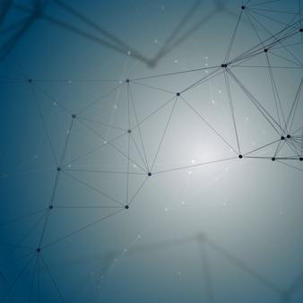 Padrão de química, conectando linhas e pontos, estrutura da molécula em azul, pesquisa de dna médico científico