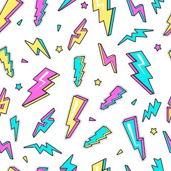 Padrão de raio. céu relâmpago aviso tensão símbolos eletricidade flash fundo sem emenda