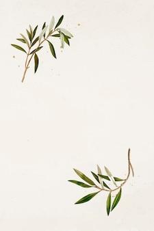 Padrão de ramo de oliveira em um vetor de modelo de fundo bege