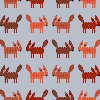 Padrão de raposas em um fundo azul. animais fofos