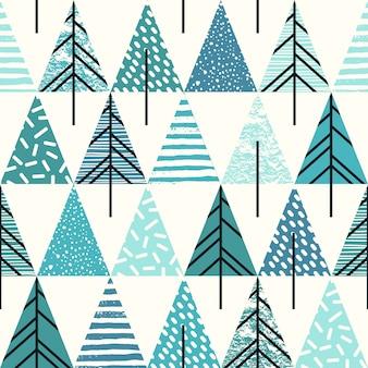 Padrão de repetição geométrica abstrata e abstrata com árvores de natal.