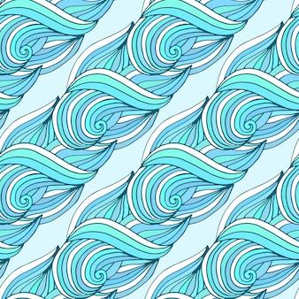 Padrão de repetição ondulado doodle. ondas azuis vector fundo tropical. para design de têxteis ou embalagens.