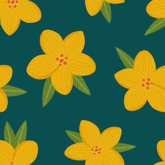 Padrão de repetição perfeita com flores e folhas