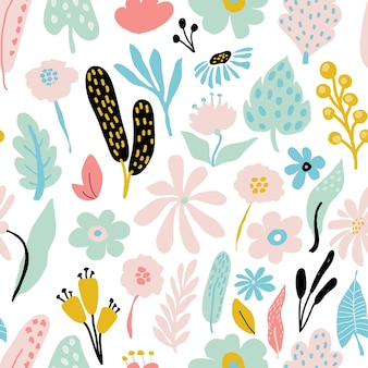 Padrão de repetição sem costura abstrato com elementos florais em cores pastel em fundo branco. modelo vetorial para cartões, banners, tecido de impressão, t-shirt. cores pastel.