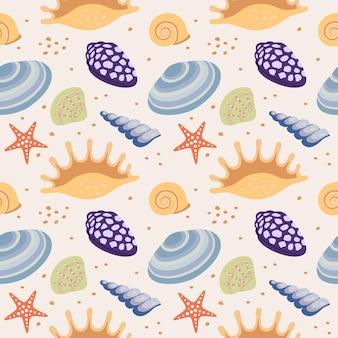 Padrão de repetição sem costura com conchas do mar. ilustração vetorial. eps10