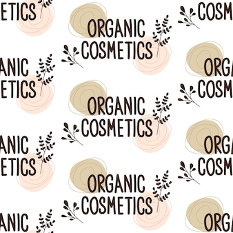 Padrão de repetição sem costura com plantas. letras de cosméticos orgânicos. silhueta botânica de ervas. conceito de produtos ecológicos naturais. estilo de moda para cartões postais, banners, modelos e papel de embrulho.