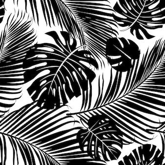 Padrão de repetição sem costura com silhuetas de folhas de palmeiras em preto e branco backgrou