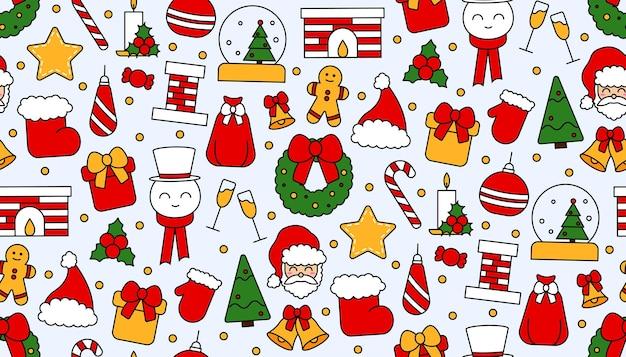 Padrão de repetição sem costura com símbolos de natal e feliz ano novo. no estilo tradicional vintage para cartão postal, tecido, banner, modelo de parabéns, papel de embrulho. ilustração em vetor plana.