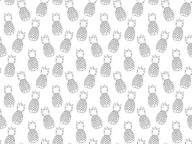 Padrão de repetição sem emenda de plantas de abacaxi. projeto de padrão tropical de frutas. papel de parede moderno minimalista abstrato. ilustração do vetor de fundo. cor branca e preta.