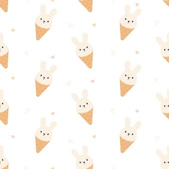 Padrão de repetição sem emenda de sorvete de coelho fofo, fundo de papel de parede, fundo de padrão sem emenda fofo
