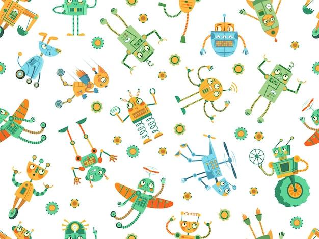 Padrão de robôs sem emenda. foguete robô, cão robótico colorido e robôs de programação para ilustração de crianças.