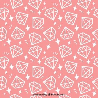 Padrão de rosa com diamantes planas