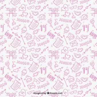 Padrão de rosa com elementos amor desenhados à mão