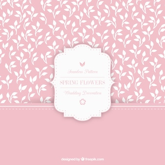 Padrão de rosa com mão desenhada folhas brancas