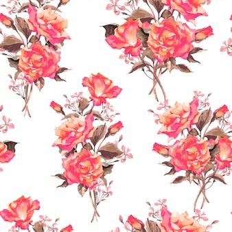 Padrão de rosas desabrocham aquarela vintage
