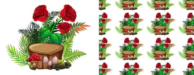 Padrão de rosas e cogumelos vermelhos
