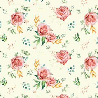 Padrão de rosas em aquarela