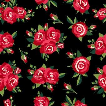 Padrão de rosas em ilustração vetorial de fundo preto
