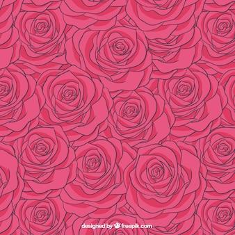 Padrão de rosas em tom rosa quente