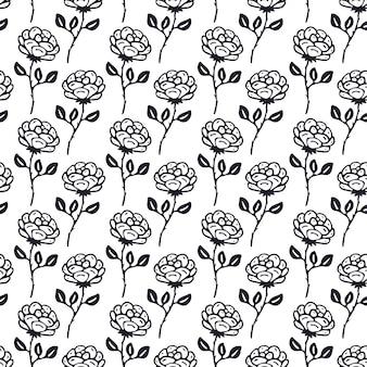 Padrão de rosas preto e branco vintage