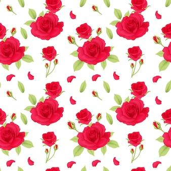 Padrão de rosas vermelhas sem emenda
