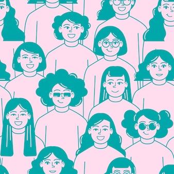 Padrão de rostos de mulheres dia da mulher