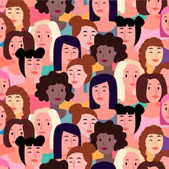 Padrão de rostos de mulheres para o dia da mulher