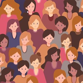 Padrão de rostos de mulheres para o dia das mulheres