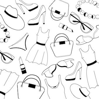 Padrão de roupas, sapatos, roupas íntimas e acessórios femininos.
