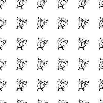Padrão de samless doodle de despertador desenhado de mão. esboço de volta às aulas, ícone. elemento de decoração. isolado em um fundo branco. ilustração vetorial.