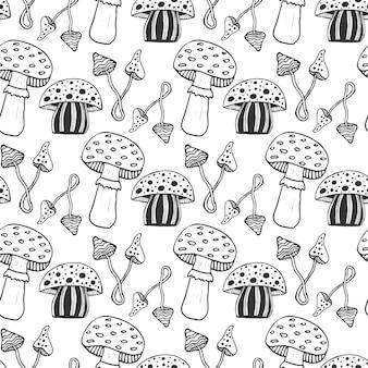 Padrão de seamess de cogumelos mágicos psicodélicos desenhados a mão. doodle fundo do vetor com cogumelos venenosos.