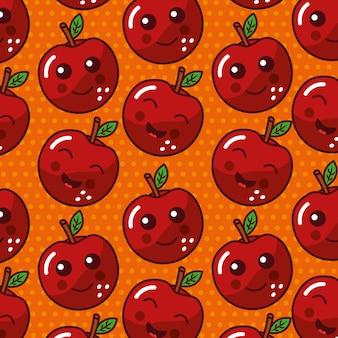 Padrão de seamles engraçado de rosto bonito kawaii de fruta