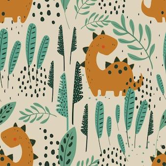 Padrão de selva perfeita com dino engraçado e elementos tropicais desenhados à mão