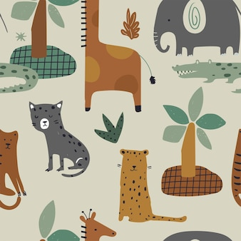 Padrão de selva sem costura com animais engraçados girafa elefante tigre leopardo crocodilo desenhado à mão