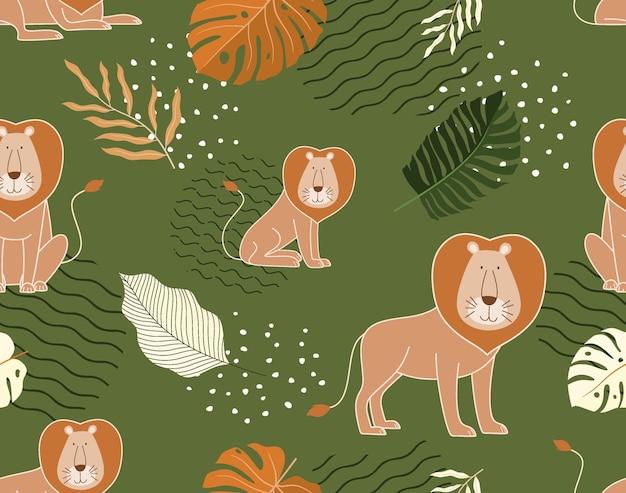 Padrão de selva sem costura com leões e elementos tropicais.