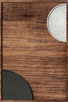 Padrão de semicírculos preto e branco em fundo de madeira