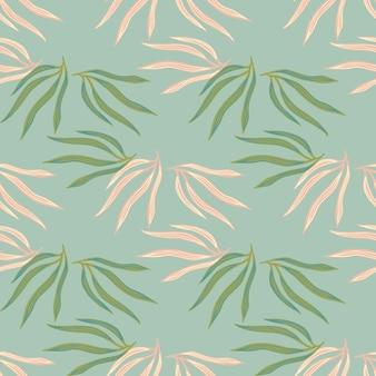 Padrão de semless de folhas tropicais da moda. folha tropical sobre fundo azul.