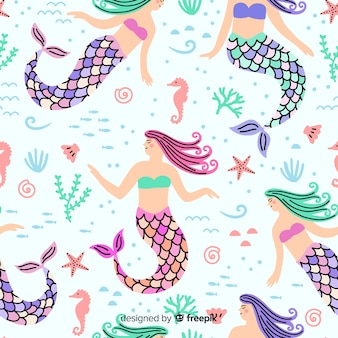 Padrão de sereia colorido de mão desenhada