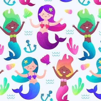 Padrão de sereia colorido