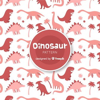 Padrão de silhueta de dinossauro de mão desenhada