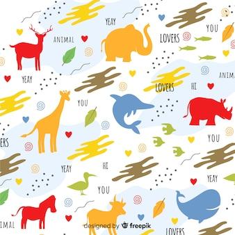 Padrão de silhuetas e palavras de animais doodle colorido