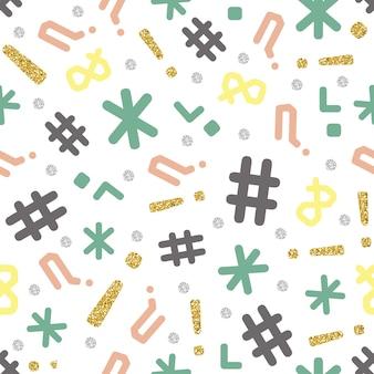 Padrão de símbolo de glitter colorido e contínuo no fundo branco