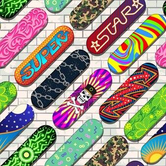 Padrão de skate colorido