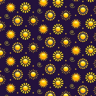 Padrão de sol de design plano