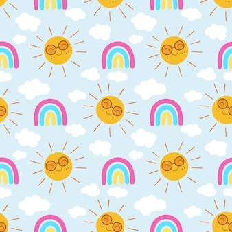 Padrão de sol desenhado à mão com arco-íris